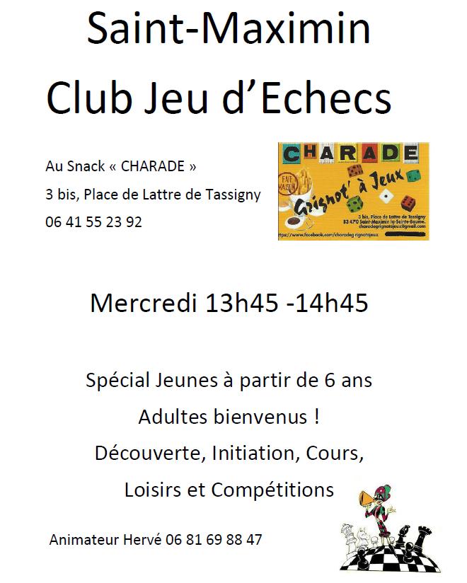 Saint maximin club jeu d echecs snack